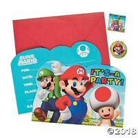 SUPER MARIO BROS INVITATIONS PACK OF 8 PARTY FAVOURS SUPPLIES