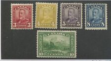 Set of 6 1928 Canada King George V Scroll Issue Mt. Hurd Postage Stamps #151-155