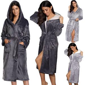 PLUS SIZE 8-22 BATHROBE LADIES SOFT & COSY HOODED WARM FLEECE DRESSING GOWN ROBE