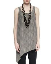 L NWT EILEEN FISHER SILK CREPE DE CHINE CHAINETTE PRINTED ASYMMETRIC TOP