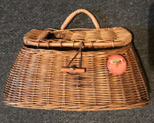 New listing Vintage Wicker Fishing Creel With 1958 Fishing License Button-Nice