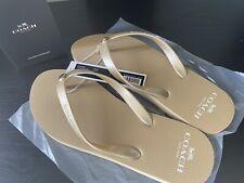 Coach Gold Women's Flip Flops Sandals Size 7 Item G3775