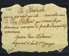Etiquette de Vin-Bourgogne-La Perdriole-Vin Pétillant -New-Never Stuck-Réf.n°294