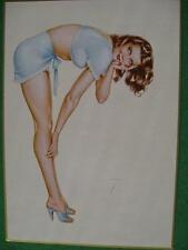 Alberto Vargas Pinup Girl Calendar Art 1980 Issue by Bantam Gallery Brunette WOW