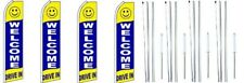 Welcome Drive In  Swooper Flag With Complete Hybrid Pole set- 4 pack