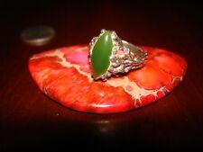 Unique Vintage Sterling Silver & Green Jade Ring.925 Sz-6.5