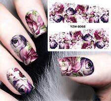 Nail Art Stickers Water Decals Transfers Purple Rose Flower Gel Polish