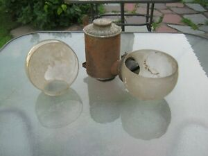 Antique Kerosene Angle MFG N.Y. Lamp Wall Sconce w/2 Globes