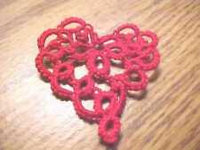 Tatted Heart Valentine New Lacey Red Tatting for Crazy Quilt, Scrapbooking