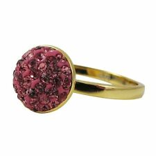 Hot Pink Shamballa Inspired Crystal Sterling Silver Gold Plated Ring (7)