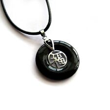 Alloy Metal Lucky Word Fu Amulet Pendant Buy One Get One Free, Black Stone