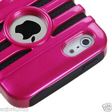 Apple iPhone 5 Mic Dual Layer Hybrid Case Skin Cover Accessory Hot Pink Black
