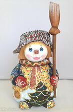 Adorable SNOWMAN in Russian hat Wooden Hand Carved Hand Painted Santa Friend