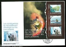 Guinea 2014 Climate Change Polar Bear Sheet First Day Cover
