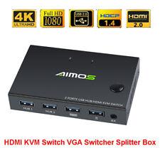 4K Video HDMI KVM Switcher 2 Ports 4 USB Splitter for Meeting Screen Sharing USA