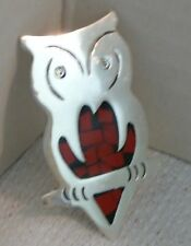 Fine Crafted Sterling Silver & Red Enamel Owl Pin / Brooch Made in Mexico
