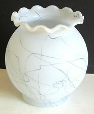Black String Drizzle Art Ruffled Glass Vase MID CENTURY MODERN FREE SH
