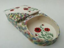 More details for sandland ware vintage shaving scuttle or trinket dish hand painted poppies