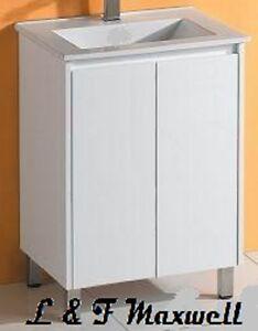 Slim Bathroom Vanity with Finger Pull Soft Close Door and Ceramic Basin 600mm