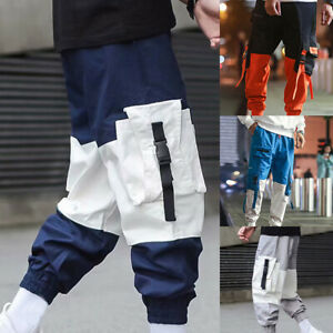 Men Harajuku Harem Hip Hop Pants Street Style Baggy Cargo Trousers Overalls Plus