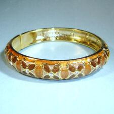 Designer Look NEW Bronze Gold Enamel Bangle Bracelet Side Opening Fits Most USA