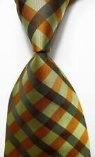 New Classic Checks Gold Green Black JACQUARD WOVEN 100% Silk Men's Tie Necktie