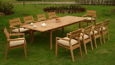 """11 PC OUTDOOR TEAK DINING SET - 117"""" RECTANGLE EXTN TABLE,10 STACKING ARM CHAIRS"""