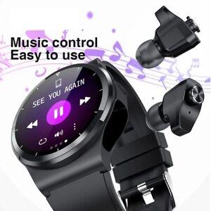 2 in 1  BT Call smart watch Music Sports Men Women Smartwatch with TWS Ear buds