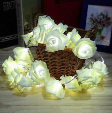 20 LED White Rose Flower Fairy Wedding Garden Party Decor Xmas String Lights