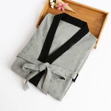 Mens Womens Kimono Bathrobe Top Pajamas Sleepwear Gown Cotton Grey Black Yukata