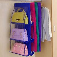 HO_ 6 Pockets Hanging Purse Handbag Tote Bag Storage Organizer Closet Rack Clear