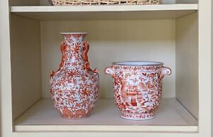 Matching Chinese Vase and Urn, Excellent Condition, Red, Orange, White