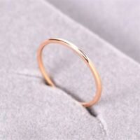 1MM Engagement Band Tail Ring Titanium Steel Women's 18K Rose Gold Size 6/7/8/9