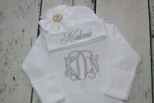 PERSONALIZED Baby Girl Gown and Hat with White Bow & Silver Gem, Newborn Baby