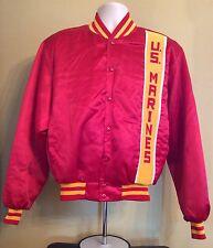 Vtg 80s Swingster U.S. Marines Satin Jacket L Red Coat Military Usa Made Nylon
