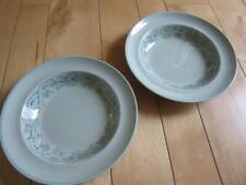 "Vtg 50s Spode Flemish Green Scroll Two 9"" Pasta Bowls"