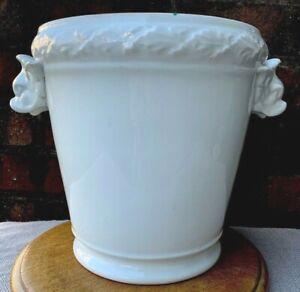 Antique French White Porcelain Cache Pot Planter Flower