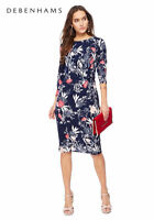 NEW DEBENHAMS NAVY BLUE RED PINK White FLORAL RETRO TEA / Evening DRESS 8 - 12