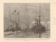 "1901 ANTIQUE PRINT - ROYAL YACHT ""VICTORIA AND ALBERT"" LEAVING SHEERNESS"
