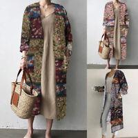 ZANZEA Women Open Front Cardigan Floral Print Jacket Coat Outwear Tops Shirt US
