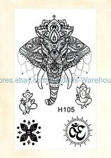 US Seller-removable tattoos for adults Indian lucky elephant temporary tattoo