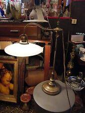 Lampe de Bureau Potence en Laiton Opaline Ancienne