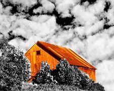 Orange barn black and white picture wall decor home interior art photograph