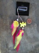HANDMADE USA Feather Hair Extensions ONE OF KIND Bear Pink Yellow Kids CLIP ON