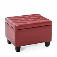 Faux Leather Tufted Ottoman Red Upholstered Storage Rectangle Foot Rest Stool