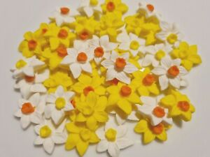 24 Sugar Daffodils Spring or Easte Flowers Birthday Wedding Cake Cupcake Toppers