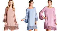 JODIFL Womens Fringe Chic Boho Long Sleeve Bohemian Casual Print Dress  S M L