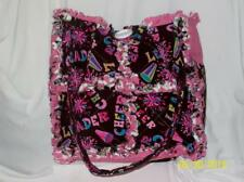 Cheerleading Cheer Pink Brown Rag Quilted  Bag Tote Purse 11x11 Small/Med Cute