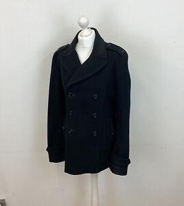 Diesel Pea Coat Black Wool Mix Double Breasted Sz Medium Ladies