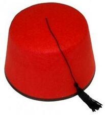 New Adults Red Fez Tarboosh Hat Tommy Cooper Turkish Moroccan Fancy Dress »